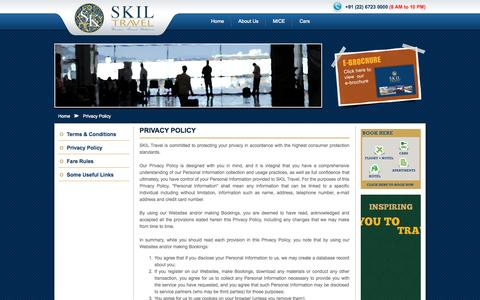 Screenshot of Privacy Page skiltravel.com - Privacy Policy - SKIL Travel Business & Corporate Travel Agency India - captured Oct. 3, 2014