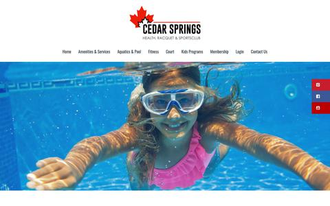 Screenshot of Hours Page cedarspringsclub.ca - Check out our scheduled pool Hours of Operation | lane swim, free swim - captured Sept. 27, 2018