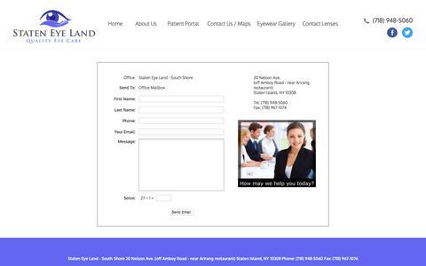 Screenshot of Contact Page stateneyeland.com - Contact Us - captured Sept. 21, 2018