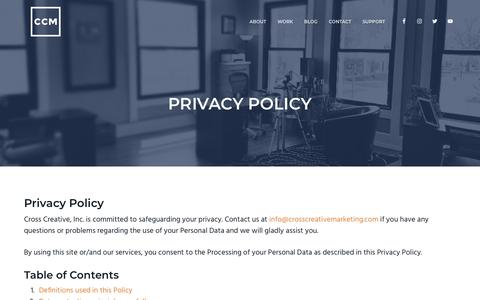 Screenshot of Privacy Page crosscreativemarketing.com - Privacy Policy - captured July 22, 2018