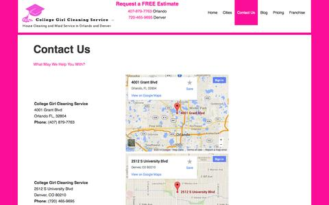 Screenshot of Contact Page collegegirlcleaningservice.com - Domestic Maid Service, Janitorial Service, and House Cleaning Service. - captured Sept. 30, 2014
