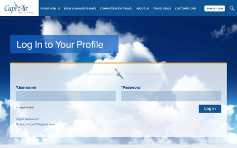 Screenshot of Login Page capeair.com - Login - captured May 14, 2017