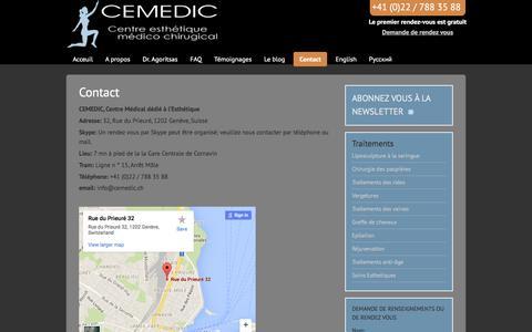 Screenshot of Contact Page cemedic.ch - Contact - Médical dédié à l'Esthétique - Genève - captured March 8, 2016