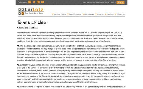 Screenshot of Terms Page carlotz.com - Terms of Use | CarLotz - captured July 19, 2014