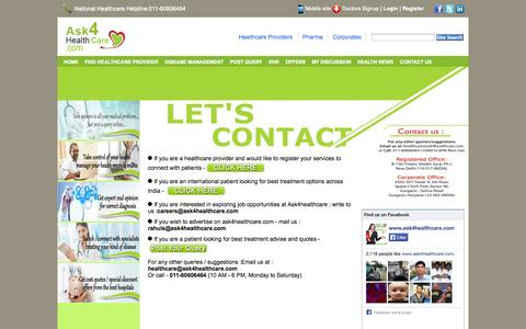 Screenshot of Contact Page ask4healthcare.com - Contact Ask4healthcare.com - captured Oct. 31, 2014