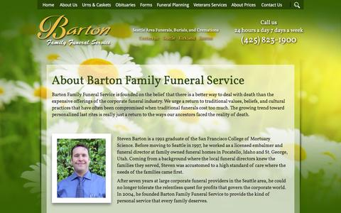 Screenshot of About Page bartonfuneral.com - About Barton Family Funeral Service | Seattle Funerals, Cremations and Funeral Home - captured March 12, 2016