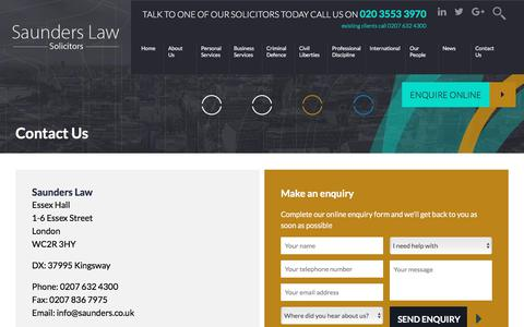 Screenshot of Contact Page saunders.co.uk - Contact Us - Saunders Law - captured Oct. 6, 2017