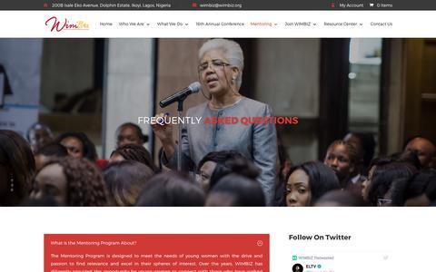 Screenshot of FAQ Page wimbiz.org - FAQ's   WIMBIZ - captured Oct. 22, 2017