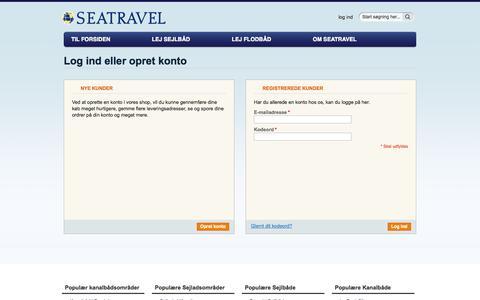 Screenshot of Login Page seatravel.dk - Log-ind - captured Oct. 7, 2014