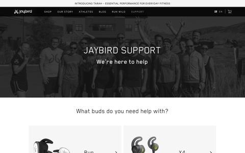 Screenshot of Support Page jaybirdsport.com - Official Jaybird Support - captured Oct. 20, 2018