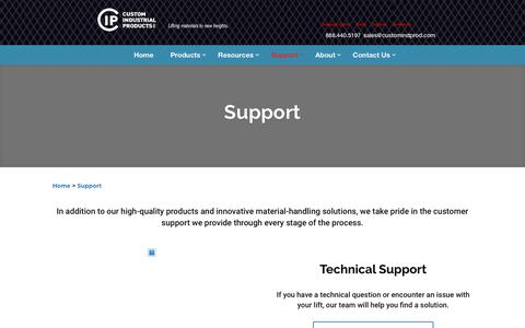 Screenshot of Support Page customindprod.com - Vertical Reciprocating Conveyor Support   Custom Industrial Products - captured April 11, 2019