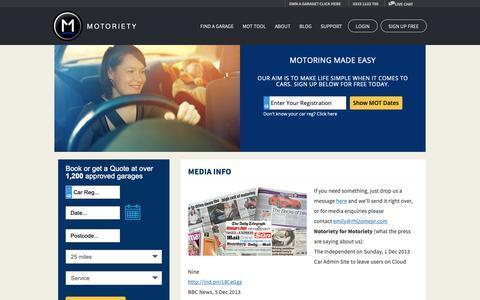 Screenshot of Press Page motoriety.co.uk - Media Info | Motoriety - captured Dec. 21, 2018