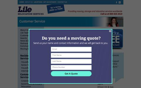 Screenshot of Support Page lile.com - Customer Service | Lile Moving & Storage - captured Sept. 23, 2018