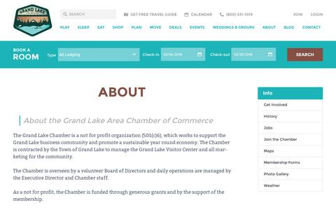 Screenshot of About Page grandlakechamber.com - About Grand Lake Colorado and the Chamber of Commerce - captured March 3, 2016