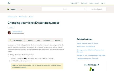 Screenshot of Support Page zendesk.com - Changing your ticket ID starting number – Zendesk Support - captured Aug. 4, 2018