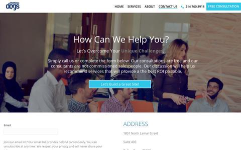 Screenshot of Contact Page seodogs.com - Dallas SEO Optimization, Search Engine Rankings, Dallas SEO Marketing Consulting, DFW Marketing Firm, Dallas SEO Dogs - captured July 21, 2018