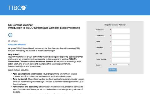 Screenshot of Landing Page tibco.com - On-Demand Webinar: Introduction to TIBCO StreamBase Complex Event Processing - captured April 6, 2016