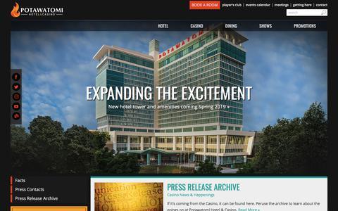 Screenshot of Press Page paysbig.com - Press Room | Potawatomi Hotel & Casino - captured June 21, 2017