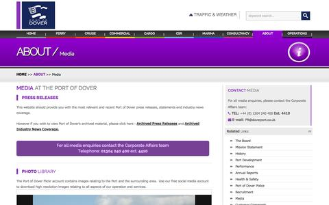 Screenshot of Press Page doverport.co.uk - About  - Media - Port of Dover - captured Nov. 3, 2014