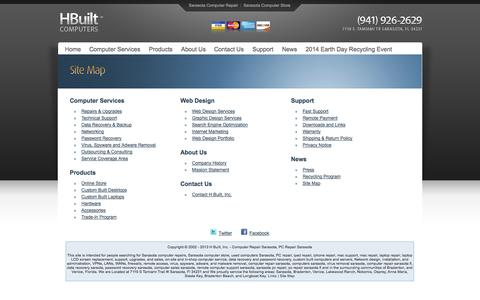 Screenshot of Site Map Page hbuilt.com - Sarasota Computer Site Map - captured Oct. 1, 2014