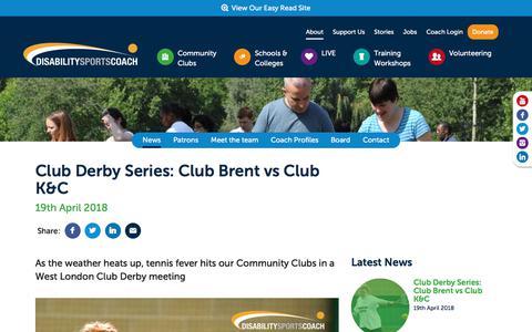 Screenshot of Press Page disabilitysportscoach.co.uk - Club Derby Series: Club Brent vs Club K&C - captured April 23, 2018