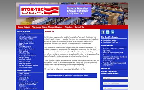 Screenshot of About Page stor-tec.com - About Us - Stor-Tec USA, Inc. - captured Oct. 7, 2014