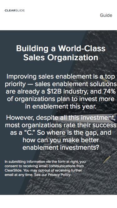 Building a World-Class Sales Organization