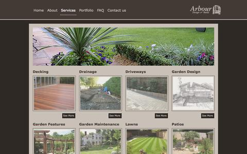 Screenshot of Services Page arbourdesign.co.uk - lawns, decking, patio, fences, driveways, planting, design | Arbour Design and Build - captured Oct. 4, 2014