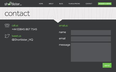 Screenshot of Contact Page shortlister.com - Contact Shortlister.com | Call Us: +44 (0)845 867 7545 | Shortlister | Shortlister - captured Oct. 1, 2014
