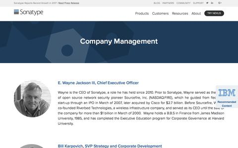 Screenshot of Team Page sonatype.com - Management | Sonatype - captured Feb. 5, 2018