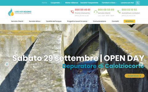 Screenshot of Home Page larioreti.it - Lario Reti Holding | Servizio Idrico Integrato in Provincia di Lecco - captured Sept. 27, 2018