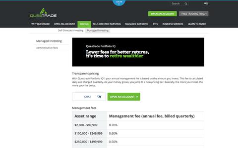 Screenshot of Pricing Page questrade.com - Pricing | Managed Investing | Questrade - captured July 25, 2017