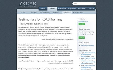 Screenshot of Testimonials Page kdab.com - Testimonials for KDAB Training - KDAB - captured Aug. 8, 2016