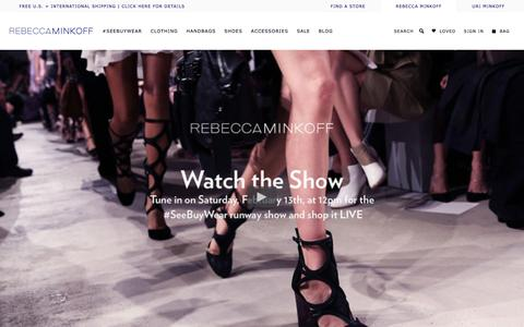 Screenshot of Home Page rebeccaminkoff.com - Rebecca Minkoff Online Store: Handbags, Clothing, Shoes, & Accessories  | Rebecca Minkoff - captured Feb. 18, 2016