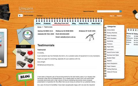 Screenshot of Testimonials Page unicorn.net.au - Testimonials - captured Dec. 8, 2016