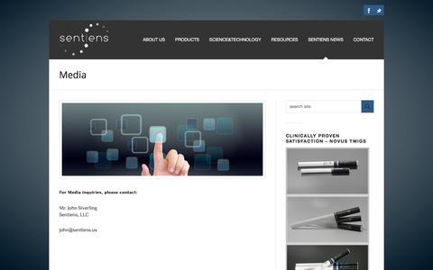 Screenshot of Press Page sentiens.us - Media | Sentiens News | Sentiens | Sentiens LLC - captured Nov. 12, 2017