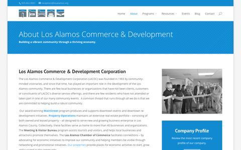 Screenshot of About Page losalamosdevelopment.com - About | Los Alamos Commerce & Development Corporation - captured Oct. 3, 2014