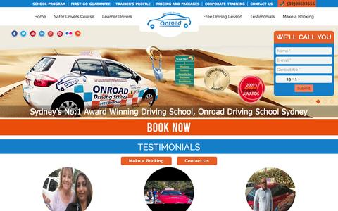 Screenshot of Testimonials Page onroad.com.au - Testimonials | Onroad Driving School Sydney, Driving Lessons, Driving Instructors - captured Oct. 21, 2015