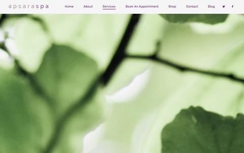 Screenshot of Menu Page apsaraspa.com - Services   Apsara Spa - captured Oct. 29, 2014