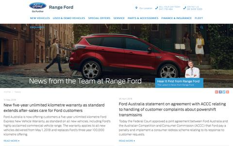 Screenshot of Press Page rangeford.com.au - News from the Team - Range Ford - Page 1 - captured Sept. 21, 2018