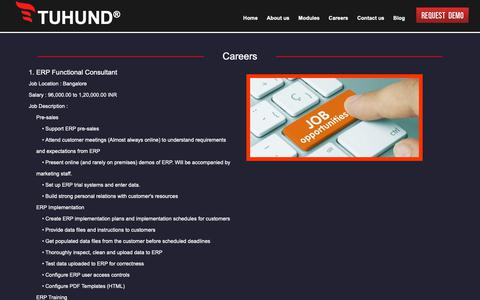 Screenshot of Jobs Page tuhund.com - ERP Solution - Enterprise Resource Planning - TUHUND ERP - captured Nov. 15, 2018