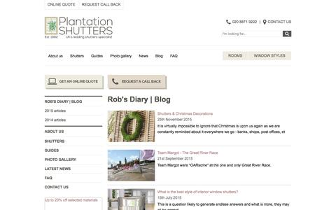 Screenshot of Blog plantation-shutters.co.uk - Rob's Diary   Blog   Plantation Shutters - captured Jan. 29, 2016