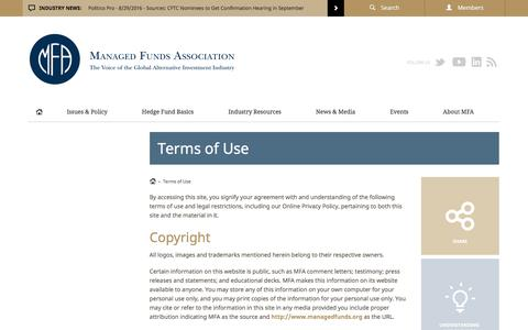 Screenshot of Terms Page managedfunds.org - Managed Funds Association | Terms of Use - Managed Funds Association - MFA | The Voice of the Global Alternative Investment Industry - captured Sept. 1, 2016