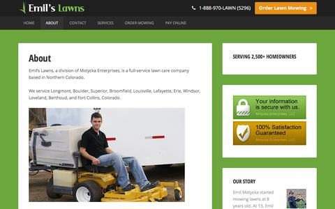 Screenshot of About Page emilslawns.com - The Emil Motycka Story � About � Emil's Lawns - captured Dec. 9, 2015