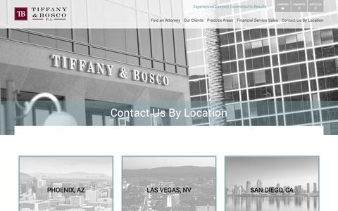 Screenshot of Contact Page Locations Page tblaw.com - Our Locations | Tiffany & Bosco - captured Oct. 26, 2017