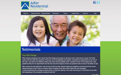 Screenshot of Testimonials Page adlerresidential.com - Testimonials | Adler Residential - captured Sept. 30, 2014