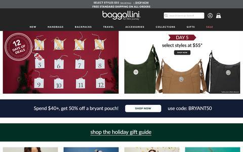 Screenshot of Home Page baggallini.com - Handbags & Purses - Fashion Bags Online | baggallini® - captured Dec. 9, 2018
