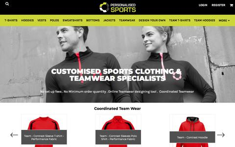Screenshot of Home Page personalisedsports.com - Sports Uniforms | Team wear | Clothing | Custom Printed  personalisedsports - captured July 17, 2018