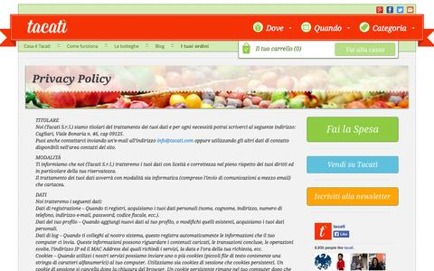 Screenshot of Privacy Page tacati.it - Privacy policy | Tacatì - captured Sept. 17, 2014