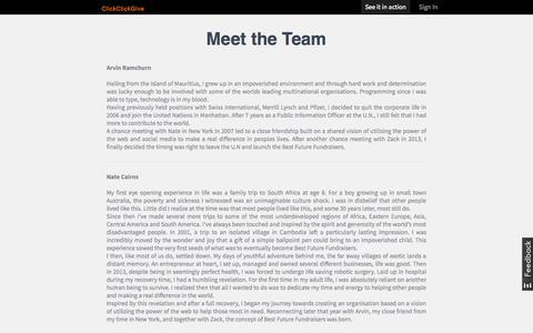 Screenshot of Team Page clickclickgive.org - Meet the Team - ClickClickGive - captured Sept. 26, 2014